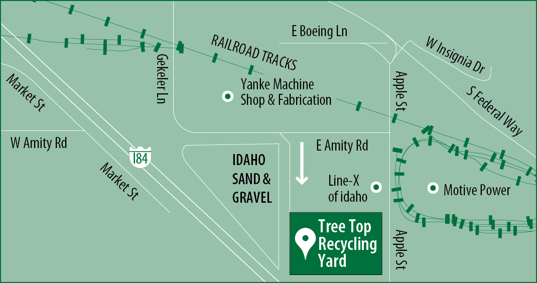 Map that shows the location of our yard